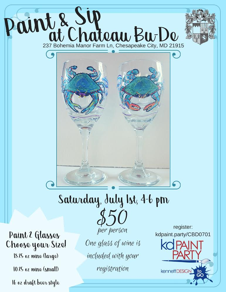 Blue Crab Wine Glass Painting Maryland Wineries Association