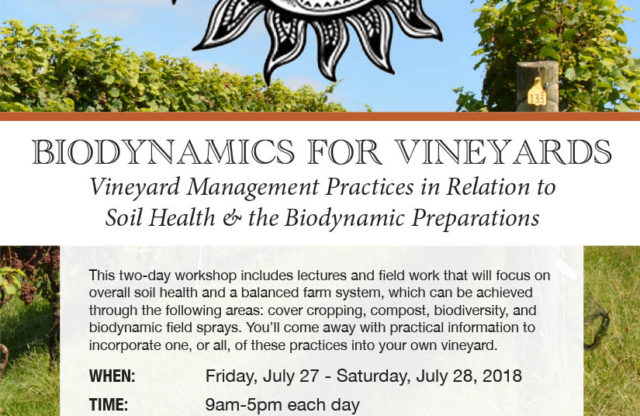 Biodynamics for Vineyards Workshop: 7/27/18 – 7/28/18
