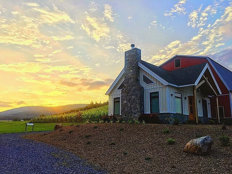 View of Catoctin Breeze Vineyards with sunset behind mountains in the west.