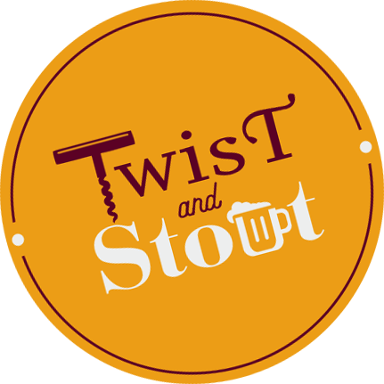 Twist and Stout wine event stylized logo