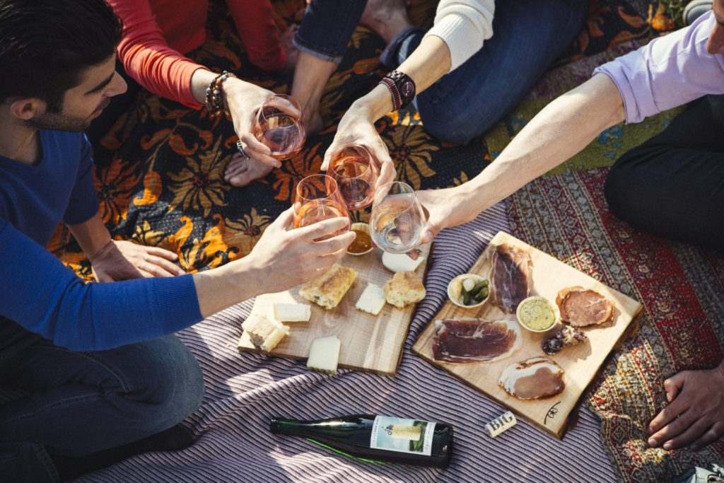 People toasting with wine glasses on picnic blanket