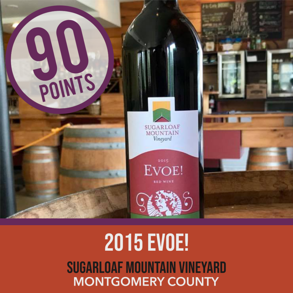 Sugarloaf Mountain Vineyard EVOE! bottle in template indicating an IWR score of 90 points.