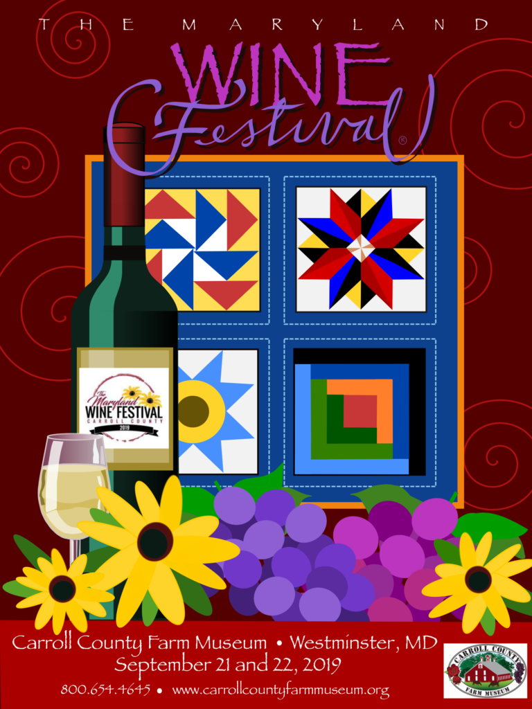 Image of farm quilt, wine bottle, and black-eyed Susan flowers