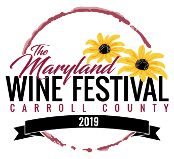 2019 Maryland Wine Festival Logo featuring a red wine stain surrounding two Black Eyed Susans and script.