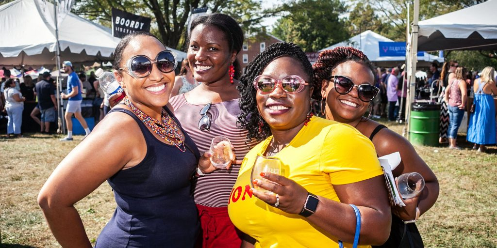 Four women pose at the 2019 Maryland Wine Festival